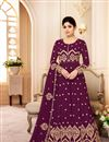 image of Shamita Shetty Burgundy Color Embroidered Party Wear Georgette Anarkali Salwar Suit