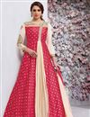 image of Taffeta Silk Fancy Party Wear Anarkali Suit In Crimson Color
