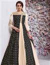 image of Black Embroidered Fancy Taffeta Silk Anarkali Dress