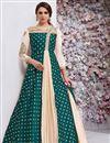 image of Taffeta Silk Teal Fancy Floor Length Anarkali Suit