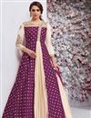 image of Embellished Long Anarkali Suit In Taffeta Silk Purple Color