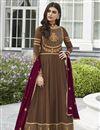 image of Brown Function Wear Georgette Anarkali Salwar Kameez With Embroidery