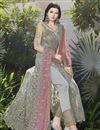 photo of Fancy Net Designer Grey Embroidered Function Wear Long Anarkali Suit