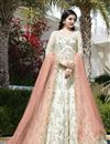 image of Off White Function Wear Designer Net Fancy Embroidered Floor Length  Anarkali Suit