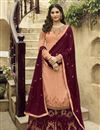 image of Designer Sangeet Function Wear Georgette Embroidered Palazzo Dress In Peach