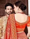 photo of Function Wear Red Weaving Work Saree In Art Silk With Embelllished Blouse