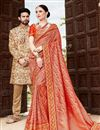 image of Function Wear Red Weaving Work Saree In Art Silk With Embelllished Blouse