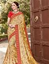 image of Art Silk Function Wear Weaving Work Saree In Beige With Embelllished Blouse