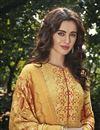 photo of Art Silk Fabric Festive Wear Designer Digital Printed Yellow Color Palazzo Dress