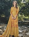 image of Art Silk Fabric Festive Wear Designer Digital Printed Yellow Color Palazzo Dress