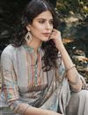 photo of Designer Art Silk Fabric Festive Wear Digital Printed Grey Color Palazzo Suit