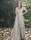 image of Designer Art Silk Fabric Festive Wear Digital Printed Grey Color Palazzo Suit