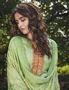 photo of Art Silk Fabric Festive Wear Designer Digital Printed Sea Green Color Palazzo Dress