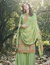 image of Art Silk Fabric Festive Wear Designer Digital Printed Sea Green Color Palazzo Dress