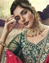 photo of Art Silk Fabric Reception Wear Designer Embroidered Dark Green Lehenga