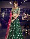image of Art Silk Fabric Reception Wear Designer Embroidered Dark Green Lehenga
