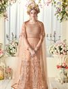 image of Designer Peach Color Net Fabric Wedding Wear Embroidered Poncho Style Gown