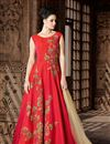 image of Red Art Silk Fabric Sangeet Wear Anarkali Suit With Embroidery Work