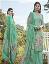 image of Designer Art Silk Fabric Festive Wear Printed Embroidered Cyan Color Palazzo Suit