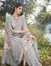 photo of Designer Art Silk Fabric Festive Wear Printed Embroidered Grey Color Palazzo Suit