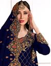 photo of Festive Wear Elegant Navy Blue Embroidered Straight Cut Suit In Grorgette Fabric