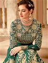 photo of Mesmeric Fancy Fabric Embroiderd Dark Green Color Designer Anarkali Suit