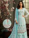 image of Classic Viscose Fabric Party Wear Printed Palazzo Suit In Light Cyan Color