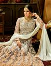 photo of Embroidery Work On Grey Party Wear Floor Length Anarkali Salwar Kameez In Net Fabric