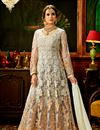 image of Embroidery Work On Grey Party Wear Floor Length Anarkali Salwar Kameez In Net Fabric