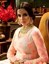 photo of Designer Anarkali Salwar Kameez In Peach Net Fabric With Embroidery Designs