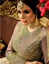 photo of Embroidery Designs On Cream Fancy Fabric Party Wear Anarkali Salwar Suit