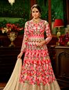 image of Net Fabric Pink Function Wear Embroidered Anarkali Suit