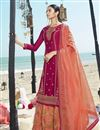 image of Georgette Fabric Function Wear Embroidered Sharara Style Palazzo Dress In Rani Color