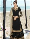 image of Black Color Function Wear Embroidered Georgette Fabric Sharara Style Palazzo Dress