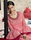 photo of Function Wear Pink Color Embroidered Georgette Fabric Sharara Style Palazzo Suit