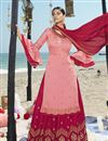 image of Function Wear Pink Color Embroidered Georgette Fabric Sharara Style Palazzo Suit