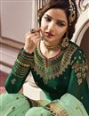 photo of Jasmin Bhasin Fancy Function Wear Green Embroidered Sharara Suit In Georgette
