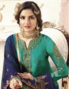 photo of Jasmin Bhasin Fancy Function Wear Cyan Embroidered Sharara Suit In Georgette
