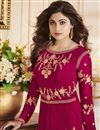 photo of Eid Special Shamita Shetty Crimson Color Anarkali Salwar Kameez With Fancy Work In Georgette Fabric