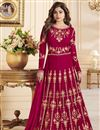 image of Eid Special Shamita Shetty Crimson Color Anarkali Salwar Kameez With Fancy Work In Georgette Fabric