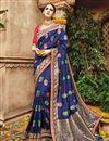 image of Function Wear Designer Blue Color Fancy Fabric Saree
