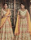 image of Designer Beige Color Lehenga Choli In Art Silk Fabric