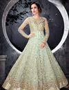image of Embellished Light Cyan Floor Length Heavy Anarkali Dress In Net