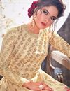 photo of Wedding Function Wear Long Embroidered Beige Anarkali Suit In Art Silk