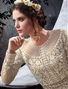 photo of Cream Net Embroidered Long Floor Length Fancy Anarkali Suit
