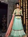 image of Sky Blue Color Wedding Wear Embroidered Lehenga Choli In Net Fabric