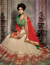photo of Beige Color Wedding Bridal Embroidered Lehenga Choli In Net And Brasso Fabric