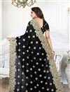 photo of Embroidery Work On Art Silk Fabric Party Wear Saree In Black With Beautiful Blouse