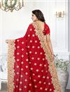 photo of Embroidery Designs On Art Silk Fabric Red Party Wear Saree With Mesmerizing Blouse