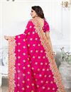 photo of Embroidery Work On Art Silk Fabric Dark Pink Function Wear Saree With Party Wear Blouse